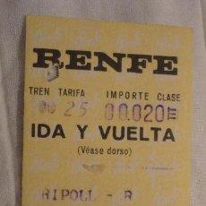 Coleccionismo Billetes de transporte: ANTIGUO BILLETE RENFE RIPOLL- TORELLO 1972. Lote 147652354