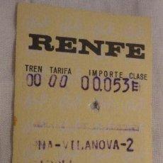 Coleccionismo Billetes de transporte: ANTIGUO BILLETE RENFE BARCELONA-VILANOVA-RIPOLL 1970. Lote 147652450