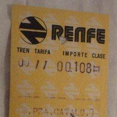 Coleccionismo Billetes de transporte: ANTIGUO BILLETE RENFE BARCELONA PLAZA CATALUÑA-RIPOLL 1975. Lote 147652554