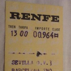 Coleccionismo Billetes de transporte: ANTIGUO BILLETE RENFE SEVILLA-BARCELONA 1972. Lote 147652878