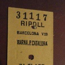 Coleccionismo Billetes de transporte: ANTIGUO BILLETE RENFE RIPOLL-BARCELONA 1969. Lote 147655686