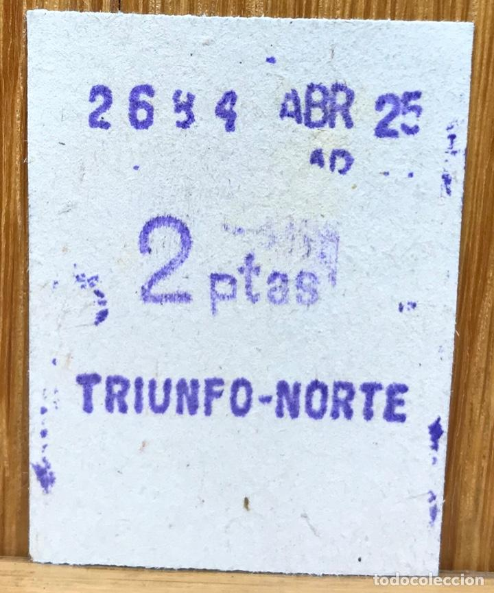 BILLETE FERROCARRIL - F C METROPOLITANO (TRIUNFO - NORTE) - 2 PESETAS (Coleccionismo - Billetes de Transporte)
