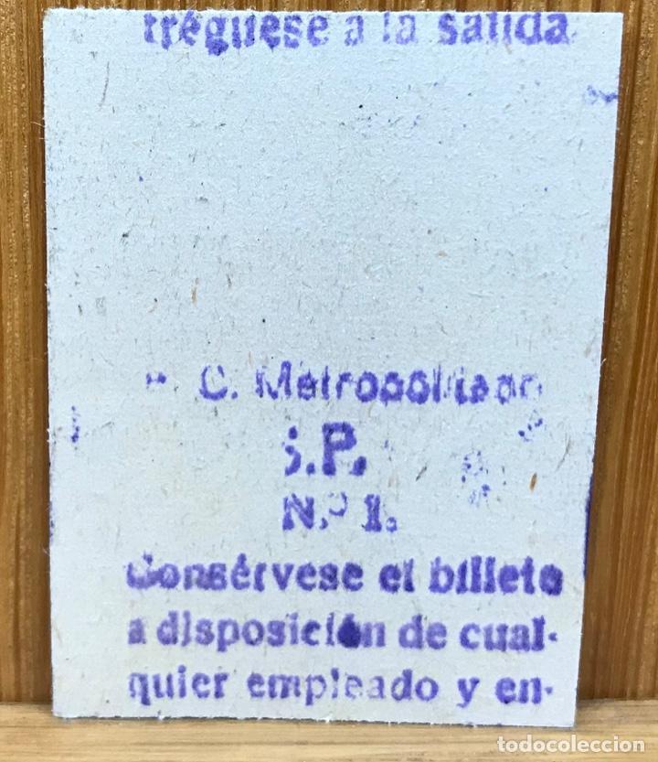 Coleccionismo Billetes de transporte: Billete Ferrocarril - F C Metropolitano (Triunfo - Norte) - 2 Pesetas - Foto 2 - 147764510