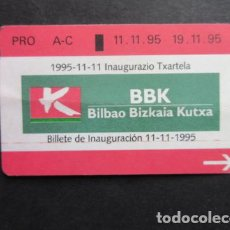 Coleccionismo Billetes de transporte: TARJETA CONMEMORATIVA DE LA INAUGURACION DEL METRO DE BILBAO 11/11/1995. Lote 148173322