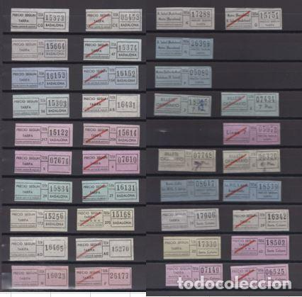 COLECCION 37 BILLETES DIFERENTES TUSA BADALONA TODOS DISTINTOS COLORES TRAYECTOS ETC. SANTA COLOMA (Coleccionismo - Billetes de Transporte)