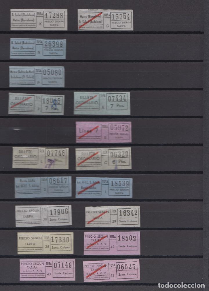 Coleccionismo Billetes de transporte: COLECCION 37 BILLETES DIFERENTES TUSA BADALONA todos distintos colores trayectos etc. SANTA COLOMA - Foto 3 - 148907542