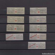 Coleccionismo Billetes de transporte: COLECCION 9 BILLETES DIFERENTES TRANVIAS DE BARCELONA LOGO TB AUTOBUSES TRAYECTOS NUMERADOS. Lote 148908278