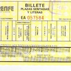 Coleccionismo Billetes de transporte: BILLETE RENFE - 5 ENERO 1988 - IRÚN A MADRID - PERFECTO ESTADO CONSERVACIÓN. Lote 149585778