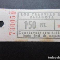 Coleccionismo Billetes de transporte: ANTIGUO BILLETE LOS TRANVIAS DE ZARAGOZA. Lote 150960914