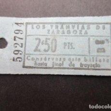 Coleccionismo Billetes de transporte: ANTIGUO BILLETE LOS TRANVIAS DE ZARAGOZA. Lote 150960938