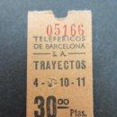 Coleccionismo Billetes de transporte: ANTIGUO BILLETE TELEFERICOS DE BARCELONA DEL PUERTO 30 PESETAS FECHADO POR DETRAS 6 ENERO 1970. Lote 150961066