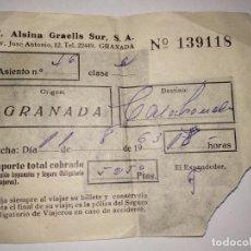 Coleccionismo Billetes de transporte: BILLETE AUTOBÚS GRANADA 1963 T. ALSINA GRAELLS SUR. Lote 151021874