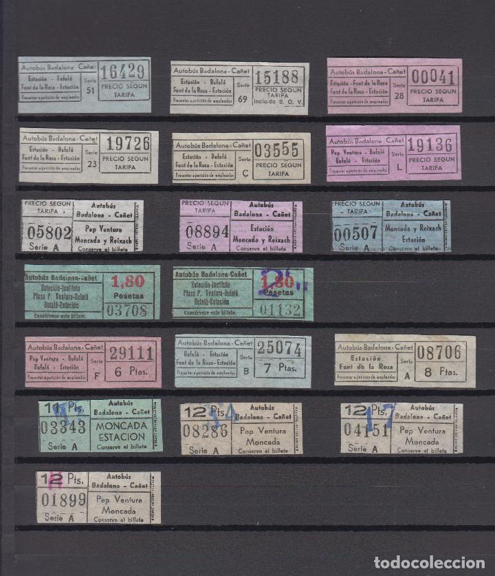 LOTE 18 BILLETES DIFERENTES AUTOBUSES CAÑET BADALONA (Coleccionismo - Billetes de Transporte)