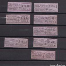 Coleccionismo Billetes de transporte: LOTE 8 BILLETES DIFERENTES TRANVIAS TRANSPORTES BARCELONA LOGO TB TARIFAS COLOR ROSA - LEER INTERIOR. Lote 151399538