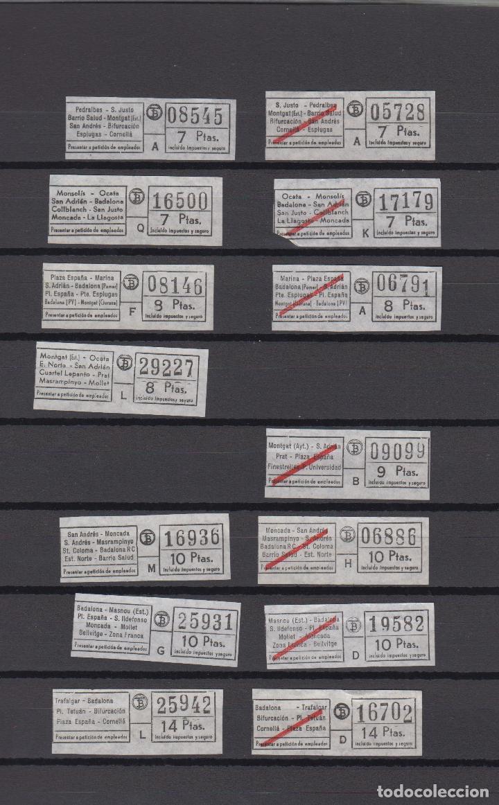 LOTE 14 BILLETES DIFERENTES TRANVIAS TRANSPORTES BARCELONA LOGO TB TRAYECTOS LEER INTERIOR (Coleccionismo - Billetes de Transporte)