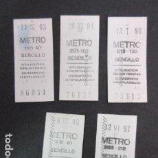 Coleccionismo Billetes de transporte: LOTE 5 BILLETES SENCILLO METRO MADRID AÑOS 1993 - 1994 - 1995 - 1996 - 1997 - LEER INTERIOR. Lote 151400954