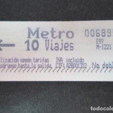 Coleccionismo Billetes de transporte: METRO MADRID BILLETE DE 10 VIAJES MODELO IVA SIN CIFRA. Lote 151401034