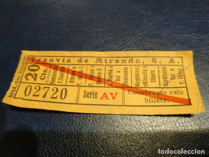TRANVÍA DE MIRANDA S.A. CAPICÚA 02720 VER TRAYECTOS (Coleccionismo - Billetes de Transporte)