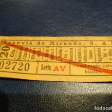 Coleccionismo Billetes de transporte: TRANVÍA DE MIRANDA S.A. CAPICÚA 02720 VER TRAYECTOS. Lote 151885914