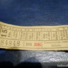 Coleccionismo Billetes de transporte: TRANVÍA DE MIRANDA S.A. CAPICÚA 84848 VER TRAYECTOS. Lote 151886402