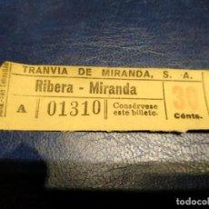 Coleccionismo Billetes de transporte: TRANVÍA DE MIRANDA S.A. CAPICÚA 01310 VER TRAYECTOS. Lote 151887414