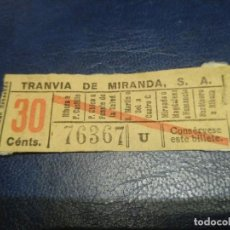 Coleccionismo Billetes de transporte: SANTANDER TRANVÍA DE MIRANDA S.A. CAPICÚA 76367 VER TRAYECTOS. Lote 151906114