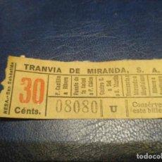 Coleccionismo Billetes de transporte: SANTANDER TRANVÍA DE MIRANDA S.A. CAPICÚA 08080 VER TRAYECTOS. Lote 151906170