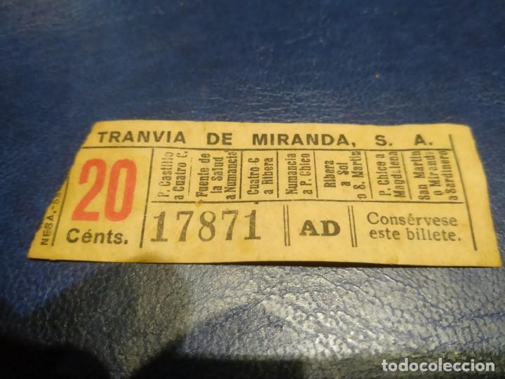 SANTANDER TRANVÍA DE MIRANDA S.A. CAPICÚA 17871 VER TRAYECTOS (Coleccionismo - Billetes de Transporte)
