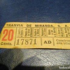 Coleccionismo Billetes de transporte: SANTANDER TRANVÍA DE MIRANDA S.A. CAPICÚA 17871 VER TRAYECTOS. Lote 151906238