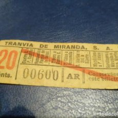Coleccionismo Billetes de transporte: SANTANDER TRANVÍA DE MIRANDA S.A. CAPICÚA 00600 VER TRAYECTOS. Lote 151906298