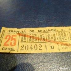 Coleccionismo Billetes de transporte: SANTANDER TRANVÍA DE MIRANDA S.A. CAPICÚA 20402 VER TRAYECTOS. Lote 151906394
