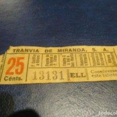 Coleccionismo Billetes de transporte: SANTANDER TRANVÍA DE MIRANDA S.A. CAPICÚA 13131 VER TRAYECTOS. Lote 151906462