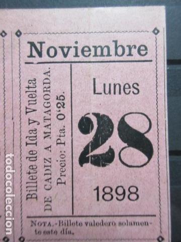BILLETE IDA VUELTA VAPOR CADIZ MATAGORDA EJIDO ALMERIA NOVIEMBRE 1898 QUIZA COMPAÑIA TRANSATLANTICA (Coleccionismo - Billetes de Transporte)