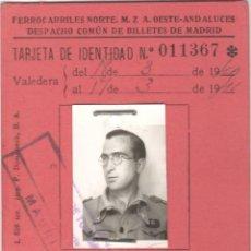 Coleccionismo Billetes de transporte: TARJETA DE IDENTIDAD - FERROCARRILES NORTE - MZA - OESTE - ANDALUCES - VIAJES EN FERROCARRIL - 1940. Lote 152055494