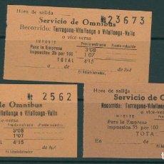 Coleccionismo Billetes de transporte: (L567) 3 BILLETES DE SERVICIO DE OMNIBUS // TARRAGONA , VILALLONGA, VALLS // AÑOS 40 // Z62. Lote 152068590