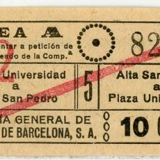 Coleccionismo Billetes de transporte: BILLETE DE COMPAÑIA GENERAL DE AUTOBUSES DE BARCELONA. Lote 152069734