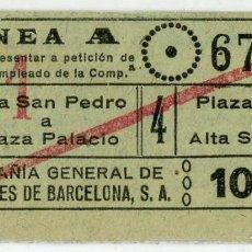 Coleccionismo Billetes de transporte: BILLETE DE COMPAÑIA GENERAL DE AUTOBUSES DE BARCELONA. Lote 152069758
