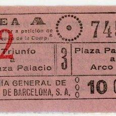 Coleccionismo Billetes de transporte: BILLETE DE COMPAÑIA GENERAL DE AUTOBUSES DE BARCELONA. Lote 152069762