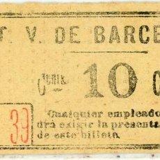 Coleccionismo Billetes de transporte: BILLETE DE T.V. BARCELONA. Lote 152070050