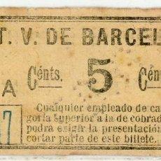 Coleccionismo Billetes de transporte: BILLETE DE T.V. BARCELONA. Lote 152070070