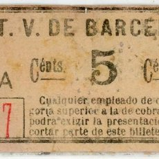 Coleccionismo Billetes de transporte: BILLETE DE T.V. BARCELONA. Lote 152070282