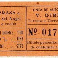 Coleccionismo Billetes de transporte: BILLETE DE V. GIBERT /TARRASA - TORRE DEL ANGEL. Lote 152070574
