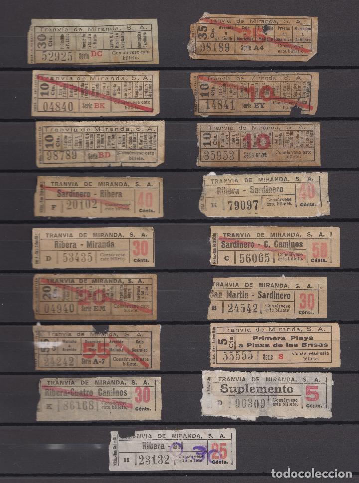 17 BILLETES CAPICUA DIFERENTES EN TRAYECTOS Y NUMEROS SANTANDER TRANVIA DE MIRANDA LEER INTERIOR (Coleccionismo - Billetes de Transporte)