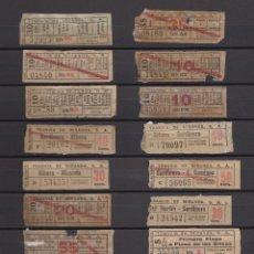 Coleccionismo Billetes de transporte: 17 BILLETES CAPICUA DIFERENTES EN TRAYECTOS Y NUMEROS SANTANDER TRANVIA DE MIRANDA LEER INTERIOR. Lote 152216506