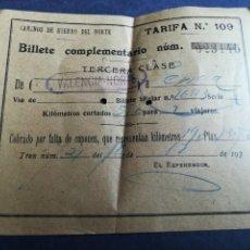 Coleccionismo Billetes de transporte: BILLETE COMPLEMENTARIO CAMINOS DE HIERRO DEL NORTE (VALENCIA-LÉRIDA) AÑOS 30. Lote 152226258