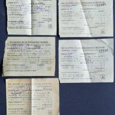 Coleccionismo Billetes de transporte: 5 BILLETES COPIA SUPLEMENTO RED NACIONAL FERROCARRILES ESPAÑOLES AÑOS 50 Y 60. Lote 152225694
