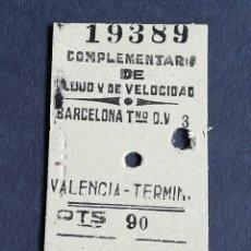 Coleccionismo Billetes de transporte: 1961 BILLETE DE TREN FERROCARRIL BARCELONA VALENCIA. Lote 152227250