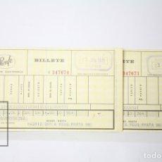 Coleccionismo Billetes de transporte: CONJUNTO DE 2 BILLETES DE TREN - RENFE - MADRID-REUS - EXPEDICIÓN ELECTRÓNICA - 23 JUNIO DE 1971. Lote 152305549
