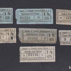 Coleccionismo Billetes de transporte: COMPAÑIA TROLEBUS SANTANDER ASTILLERO 7 BILLETES CAPICUA DIFERENTES VALDECILLA CAJO . Lote 152335698