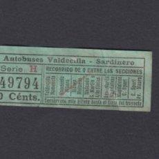 Coleccionismo Billetes de transporte: SANTANDER - AUTOBUSES VALDECILLA SARDINERO - CAPICUA 49794. Lote 152335842